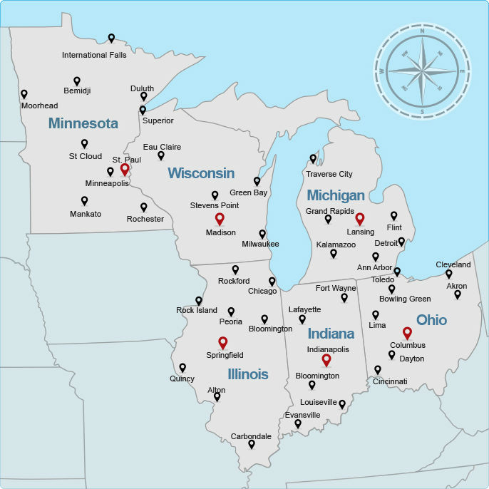 Michigan And Indiana Map.Mahma Midwest Affordable Housing Management Association